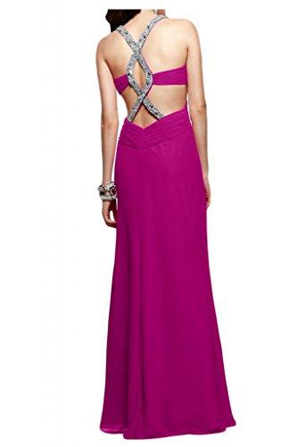 Toscana novia abendmode rueckenfrei vestidos de noche de gasa largo vestido de fiesta duro partido de la bola fucsia