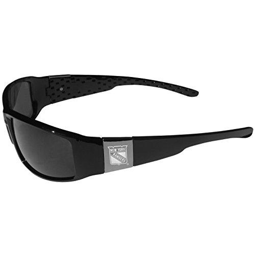 Chrome New York Glass - Siskiyou NHL New York Rangers Chrome Wrap Sunglasses,Adult,Black