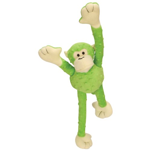 goDog Crazy Tugs Monkeys with Chew Guard Tough Plush Dog Toy, Green, Large