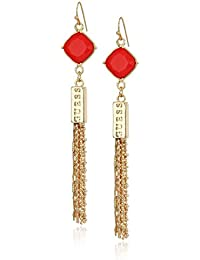 Womens Stone Drop with Fringe Linear Earrings