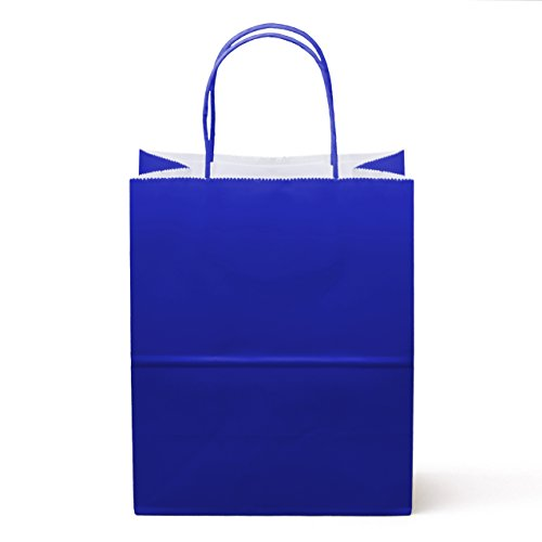 12CT Medium Royal Blue, Food Safe Paper & Ink, Natural Premium Paper (Sturdy, Thicker, & Biodegradable), Vivid Colored Paper Gift Goody Kraft Bag with Colored Sturdy Handle(Medium, Royal Blue)