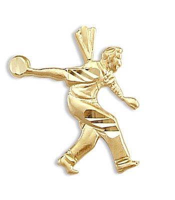 14k Yellow Gold Bowling Player Pendant