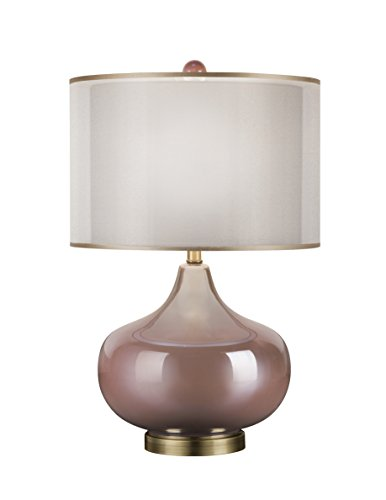 - Catalina 20112-000 3-Way Iridescent Glass Rose Quartz Table Lamp with Double Drum Shade with Gold Trim, 21.5
