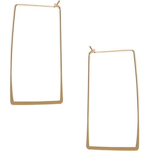 Rectangle Earrings Long - Humble Chic Rectangle Hoop Earrings for Women - Hypoallergenic Long Square Geometric Thin Wire Threader Drop Dangles, Rectangle 18K Yellow, Gold-Electroplated, Hypoallergenic