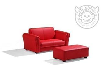 Chaise Fauteuil Cuir Rouge Enfant Avec Reposepieds Cuir Véritable - Fauteuil cuir rouge