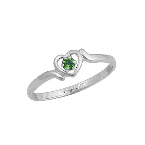 4 1/2 Girls 14K White Gold Genuine Emerald May Birthstone Heart Ring