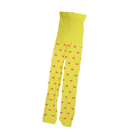 [Timall Kid Girl's Velvet Love Heart Cute Tights Leggings Pants Yellow] (2 Year Old Costumes Uk)
