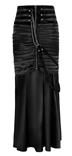 Charmian Women's Steampunk Gothic Victorian Ruffled Satin High Waisted Skirts Noir