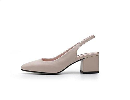 5cm di con alta Baotou Alla Da quel spesso ad versatile Sandali Moda AJUNR scarpe 39 e set Donna script beige tacco nwqZWvTx0