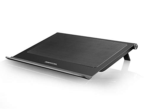 (DEEPCOOL N65 Laptop Cooling Pad, Dual 140mm Fans of 1000RPM, Full-Metal Panel, Removable Dust Filter, Anti-Slip Baffle, Two Adjustable Supporting Angles, USB3.0 Output Design)