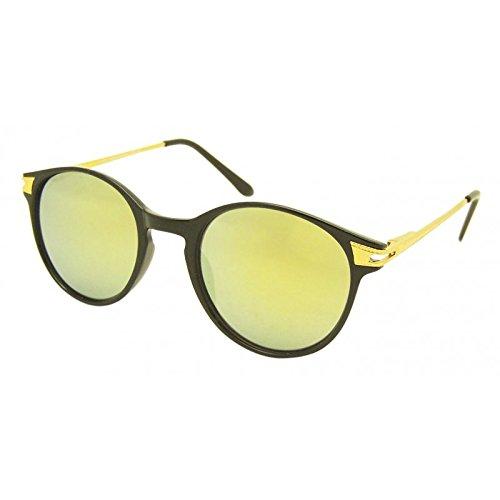 Chic-Net Lunettes de soleil rond Vintage Panto 400UV Armature en métal Golden John Lennon style Miroir, vert