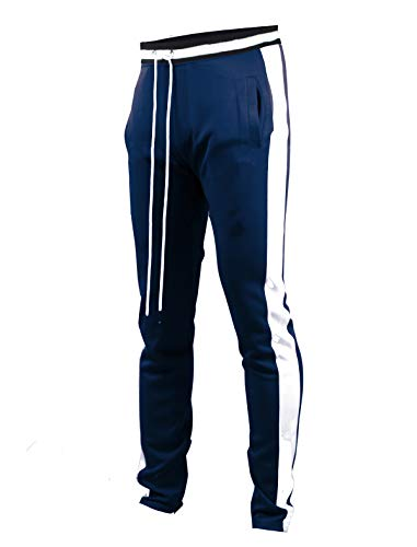 2f2529c7afa7ba SCREENSHOTBRAND-S41700 Mens Hip Hop Premium Slim Fit Track Pants - Athletic Jogger  Bottom with Side Taping-Navy-Medium