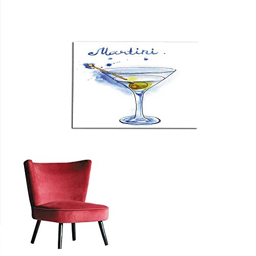 (homehot Wallpaper Martini Glass with Green Olive Isolated on White Background Mural 20