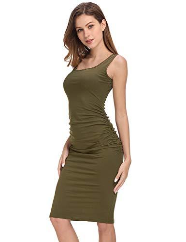 - GloryStar Women's Long Sleeve Ruched Bodycon Midi Sheath Pencil Dress (L, Sleeveless Army Green)