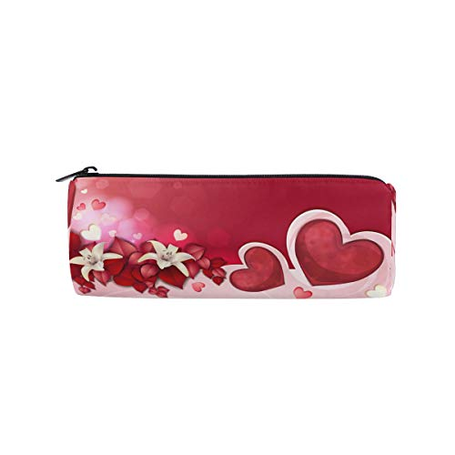 TropicalLife Valentine's Day Heart Shaped Pencil Case with Zipper Pen Pouch Makeup Bag for School Office - Personalized Heart Shaped Pen