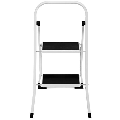 VonHaus Steel 2 Step Ladder Folding Portable Stool with 330lbs Capacity - Lightweight and Sturdy, White, 2 Step by VonHaus (Image #4)