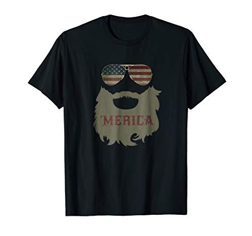 Merica Patriotic Beard Sunglasses Flag T-shirt