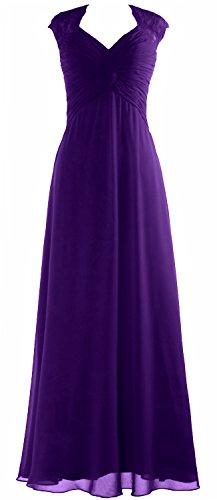 MACloth Women Cap Sleeve Lace Long Prom Dress Chiffon Wedding Party Formal Gown Morado