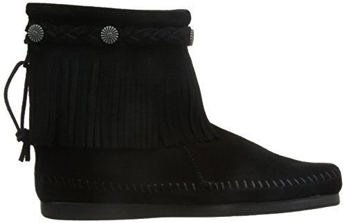 Minnetonka Hi Top Back Zip Boot 297T - Botas de ante para mujer Negro (Black)