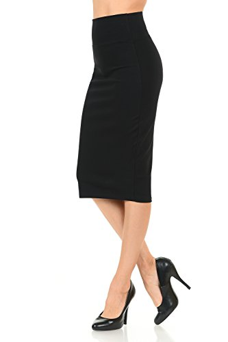 Women's High Waist Simple & Elegant Below the Knee Fitted Pencil Skirt Small Black (Pencil Fur Skirt)