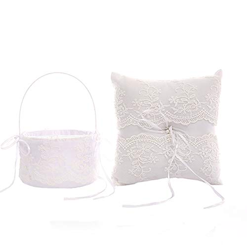 TrueLoveGift Ring Bearer Pillow and Wedding Flower Girl Basket Set Lace Pearl Rhinestones Satin Collection Wedding Anniversary Celebrations Party Decoration
