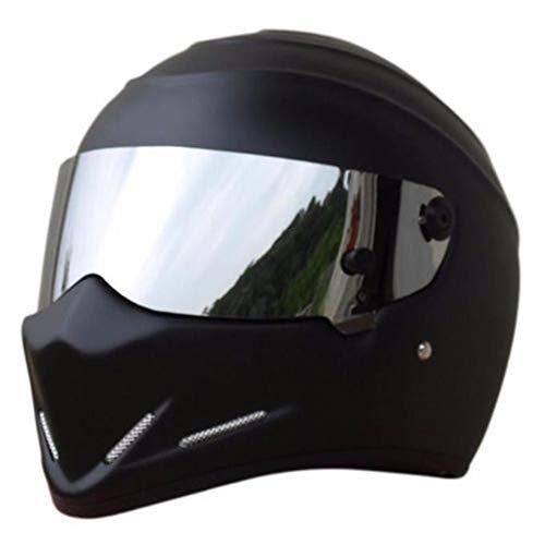 Matt Black,L YEMA YM-925 Full Face Racing Motorcycle Helmet with Sun Visor for Adult Men Women Motorbike Crash Modular Helmet ECE Approved