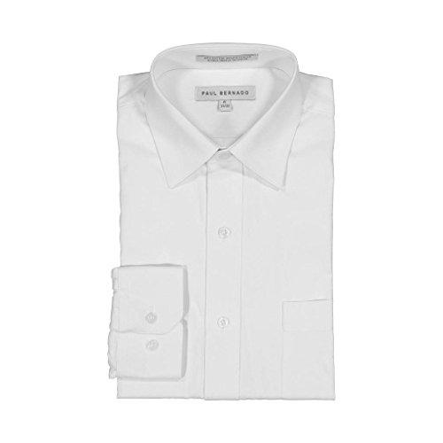2200 Cart - AKA Boys Wrinkle Free White On White Long Sleeve Dress Shirt Dobby Stripe 14