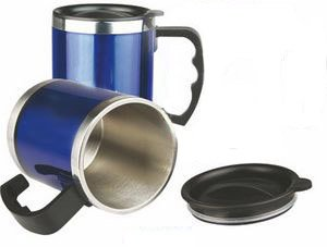 Stainless Steel 15oz Desk Mug, Coffee Mug (Blue)