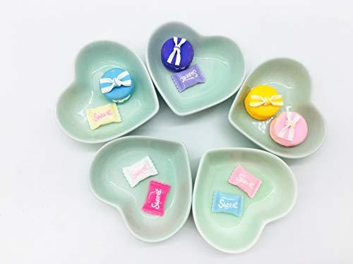 Set of 5 Cute Color Mini Heart Porcelain Dishes Serving Bowls for Appetizer Dessert Salad Snack Sushi Fruit (5, green)
