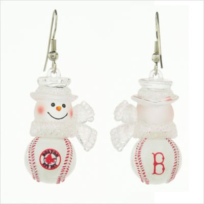 MLB Boston Red Sox Snowman Earrings 1 - Red Sox Snowman Boston