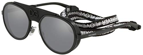Dolce & Gabbana Men's DG2210 Sunglasses, Black/Light Grey Mirror, One ()
