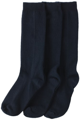 Jefferies Socks Big Girls'  School Uniform Knee High  (Pack of 3), Navy, Large -