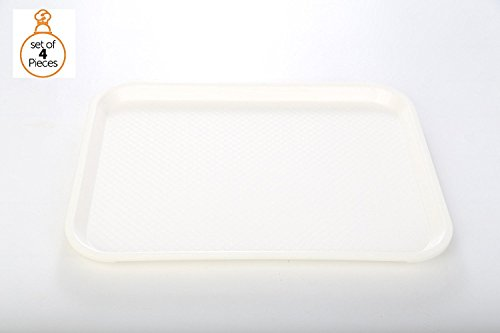 4 Fast Food Trays 14 inch x 18 inch White Café Standard Cafeteria, Restaurant, Pizza, Diner Serving Tray