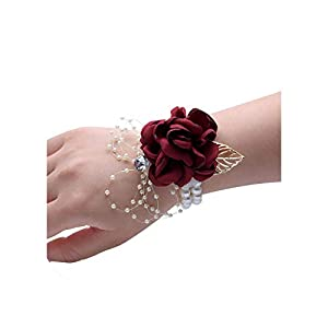 Silk Rose Flower Groom Boutonniere Bride Wrist Corsage Man Suit Brooch Women Hand Wedding Flowers Party Decoration Xf08 28