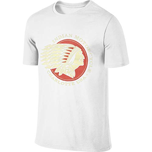 Syins Man Design Breathable Tops Indian Motorcycle Logo T-Shirt White