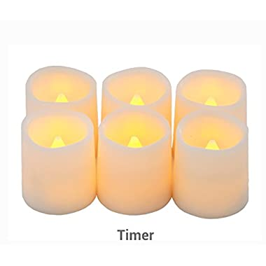 Timer Flameless Candles By Festival Delights - Premium IC-controlled Soft Flickering Votive Battery Operated Candles, 70+ Hours of Lighting, 5H Timer, Battery included, Dia. 1.5 x1.75 H