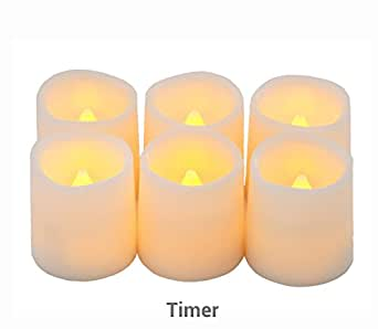 """Timer Flameless Candles By Festival Delights - Premium IC-controlled Soft Flickering Votive Battery Operated Candles, 70+ Hours of Lighting, 5H Timer, Battery included, Dia. 1.5""""x1.75""""H"""