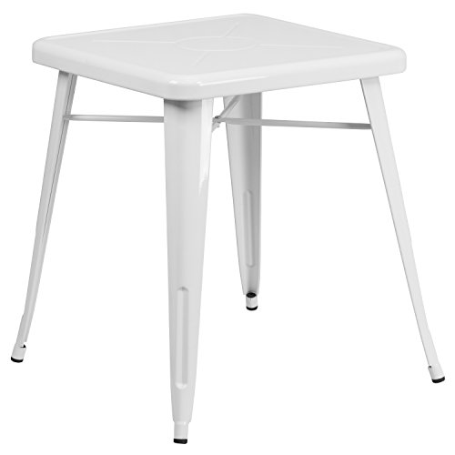 Flash Furniture 23.75 Square White Metal Indoor-Outdoor Table