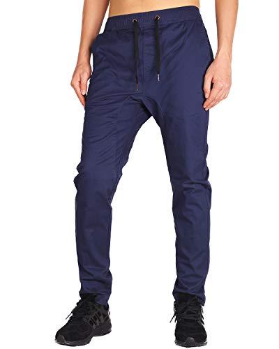 Twill Skinny - THE AWOKEN Men's Chino Jogger Pants Khaki Stretch Twill Slim Fit Sweatpant (Navy Blue, XS)