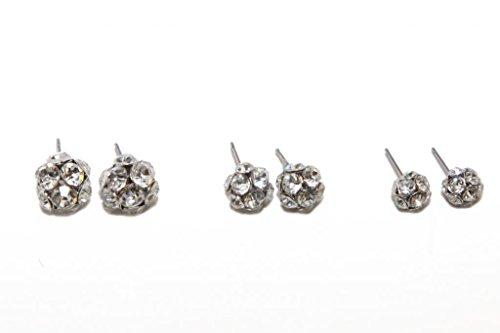 Lux Accessories Sparkle Rhinestone Stud Earrings Set (6 Pairs)