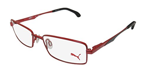 Puma 15419 Mens/Womens Spring Hinges Must Have Two-tone Hard Case Sleek TIGHT-FIT Designed For Weight Lifting/Yoga/Sports Activities Eyeglasses/Eyewear (52-16-140, Red/Black) (52 16 140 Brille)