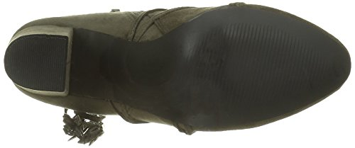 Angkorly - Scarpe da Moda Stivaletti - Scarponcini alti donna multi-briglia pon pon frange Tacco a blocco tacco alto 9 CM - Verde