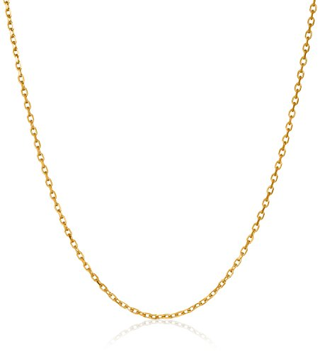 14k Gold Jewelry (14k Yellow Gold 4-Sided Diamond-Cut Cable Chain 0.9mm Chain Necklace, 24