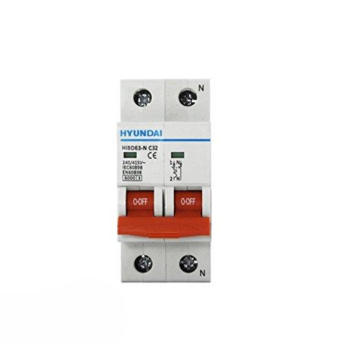 Interruptor autom/ático magnetot/érmico 1P+N 32A HYUNDAI
