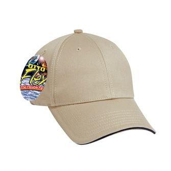 (OTTO Wholesale 12 x Flex Superior Cotton Twill Sandwich Visor 6 Panel Low Profile Baseball Cap - KHA/KHA/NVY - (12 Pcs))