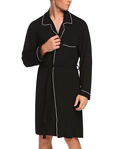 Primavera Coat Leggera Uomo Sleeping Moda E Loungewear Schwarz Vestaglia Estate Lunga Da House Fleece Accappatoio Accogliente nYO8qx7Ex