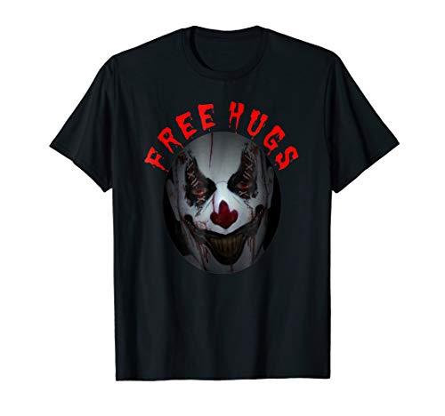 Free Hugs T Shirt Evil Killer Scary Clown Halloween Gift Tee ()