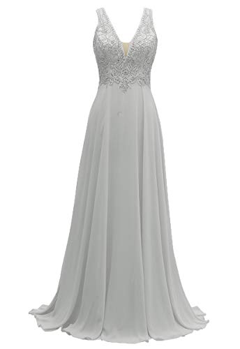 MARSEN V-Neck Bridesmaid Dresses Long Chiffon Lace A-Line Beaded Wedding Party Gowns 2019 Silver Grey18
