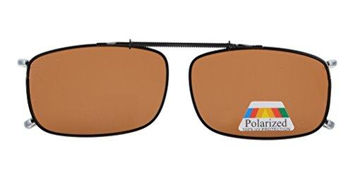 Eyekepper Metal Frame Rim Polarized Lens Clip On Sunglasses Brown Lens 2 1/16
