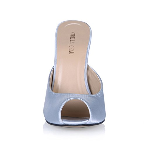 de Metálico Alto Punta Zapatos de Abierta Chau CHMILE Tacon Vestido Sexy Satén Fiesta Sandalias Aguja para gris de Mujer O0gwvq